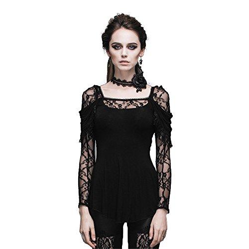 Devil Fashion Gothic Steampunk Mujeres Flocado de Encaje con Cuello en VManga Larga Blusa Camiseta Superior,L