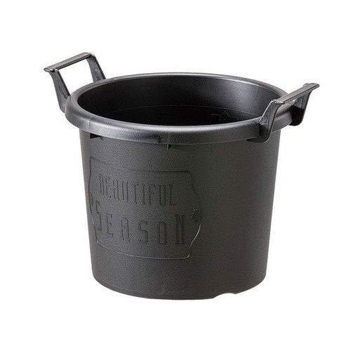 グロウコンテナ24型(直径24cm)ブラック 2個セット[持ち手付きのおしゃれなプラ鉢]