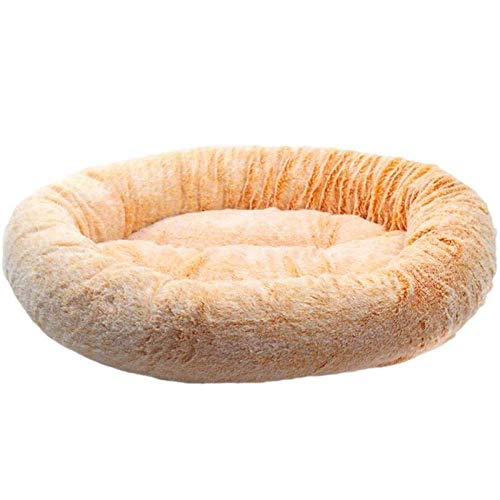 HAOSHUAI Haustier-Bett, Haustier-Bett-Kennel Dog Langer Plüsch super weicher Bequeme Runde Katze Winter Warmer Schlafsack Puppy Kissen Mat Kennel Sofa Mat