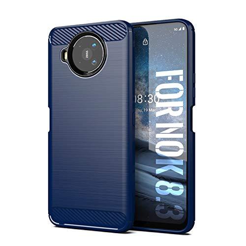 SCL Nokia 8.3 Hülle Für Nokia 8.3 Hülle, [Blau] Handyhülle Exquisite Serie-Carbon Design Schutzhülle mit Anti-Kratzer & Anti-Stoß Absorbtion Technologie für Nokia 8.3
