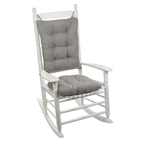 "Klear Vu Twillo Overstuffed Rocking Chair Set, Seat and Seatback Cushions, 17"" x 17"", Gray"