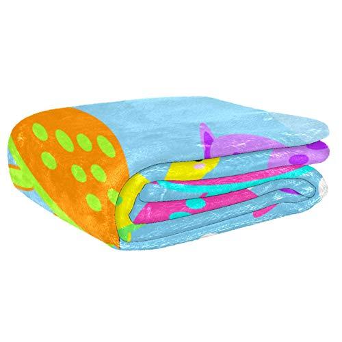 Anmarco Decke für Bett, Couch, Sofa, Picknick, Camping, Strand mit Schildkrötenmuster, Rosy Gelb Orange