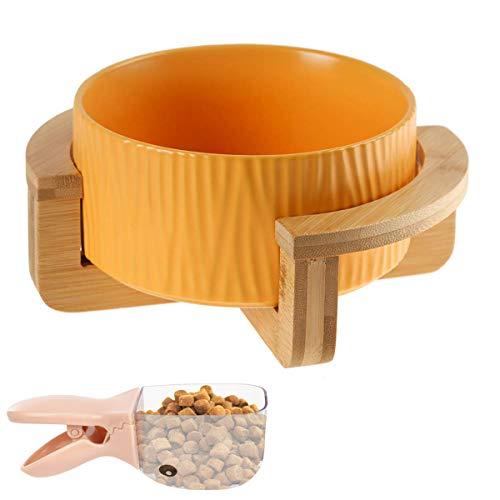 Keramik Katzennäpf, VIKEDI Futternapf Katze Keramik Fressnapf mit Bambus Halter und Futterschaufel, Keramik Futternäpfe Hundenäpf für Katzen und Hunde, Keramik Fressnapf Set mit Holz Halterung