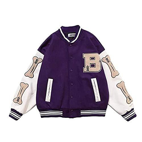 GYYlucky Giacche A Blocchi di Colore Patchwork di Ossa Pelose Hip-Hop, Giacca Bomber da Uomo Harajuku Streetwear, Cappotti da Baseball Unisex (Color : Purple, Size : L)