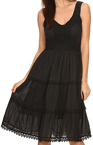 Sakkas KD2155 - Presta Roman Sleeveless Lined Tank Top Dress with Emrboidery Lace Design - Black - S Black Crinkle Tank Top