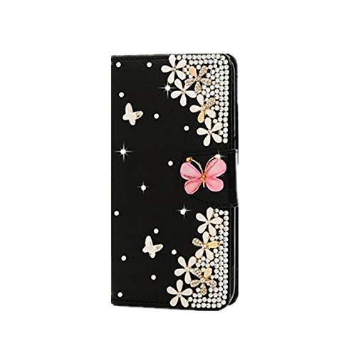 Phone Case - Carcasa para Huawei P20 Lite 2019 Y9 Y7 Prime Y6 Prime Y5 2018 P Smart 2020 Z Honor 9X Lite 9S 9A 9C Funda de piel sintética con brillantes, color negro y Honor 9X Lite