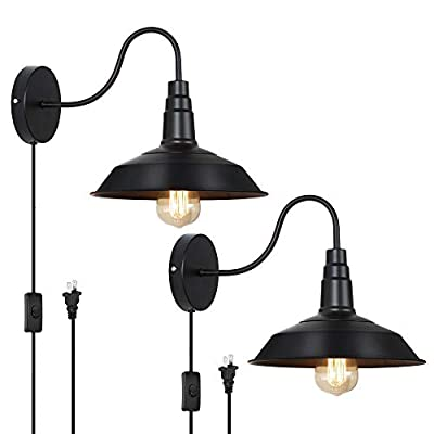 HAITRAL Plug in Wall Lamps Set of 2- Farmhouse Wall Sconces with Pulg in Cord and Buttun Switch, Industrial Wall Light Fixtures Plug in for Bedroom, Living Room, Farmhouse, Bathroom Vanity-Black