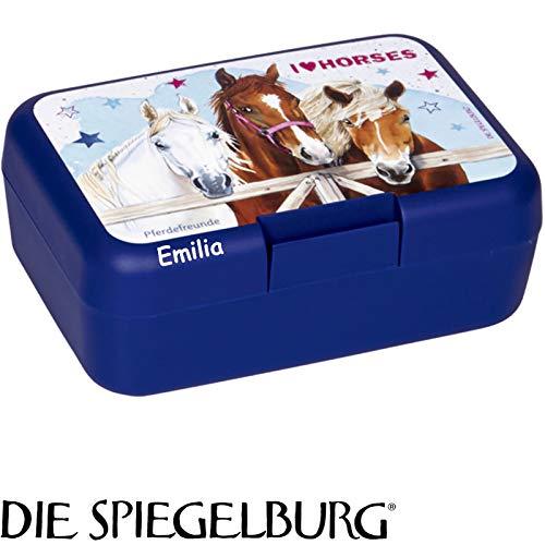 Lunchbox * Pferdefreunde Plus Wunschname * für Kinder von Spiegelburg   Brotdose mit Namensdruck   Perfekt für Pferde-Fans   Vesperdose Brotzeitbox Brotzeit Schule Kindergarten (mit Namen)