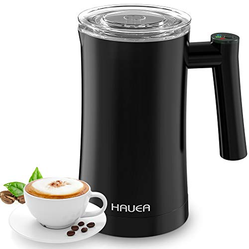 HAUEA Milk Frother, Electric Milk Steamer for Hot and Cold Milk Froth 3 in 1 Automatic Foam Maker, Stainless Steel Milk Frother for Cappuccino,Latte,Non-Stick Interior Milk Warmer with Extra Whisks