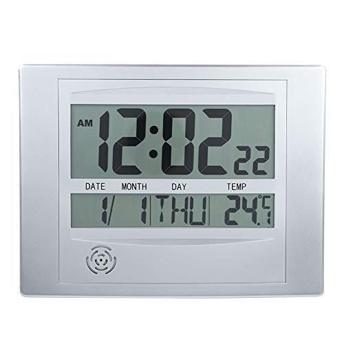 Diyeeni Multifunktions-Digitalwecker Indoor-Digitaluhr Elektronischer Weckkalender Thermometer Schlafzimmer, Wohnzimmer usw.