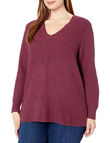 Jessica Simpson Women's Plus Size Seana V Neck Tunic Sweater, Tawny Port, 1X