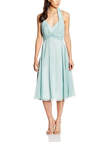 Swing Damen Neckholder-Kleid, Knielang, Einfarbig, Gr. 38, Grün (mint 581)