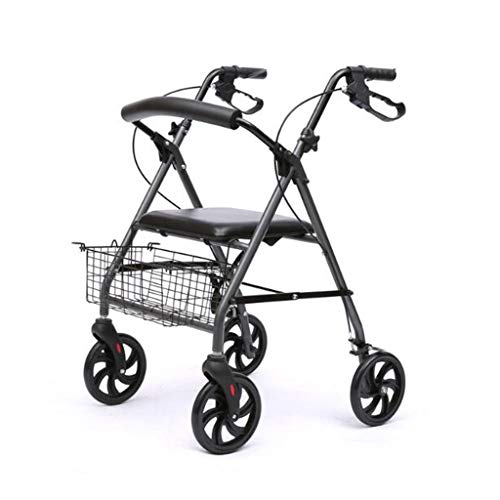 Yxsd Älterer Rollator Walker faltbar mit Einkaufskorb Vierbeinige Riemenscheibe, die dem Kinderwagen hilft