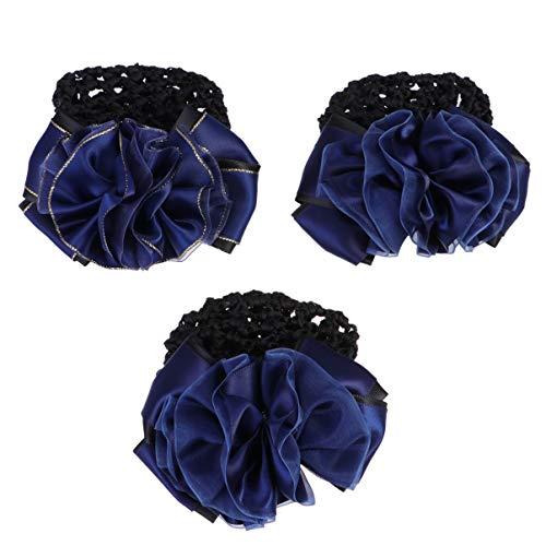 Lurrose 3 pcs fleur snood net barrette pince à cheveux chignon couverture cheveux snood net ballet chignon cheveux couvre cheveux accessoires (1 pc or et bleu + 2 pcs bleu)