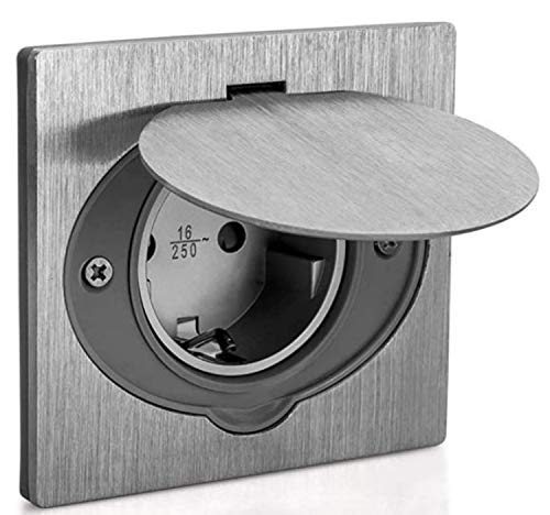 ASLO Steckdose gebürstetes Aluminium ASFAMA - Bodensteckdose, Wandsteckdose IP44 spritzwassergeschützt SET + Gerätedose Aluminiumabdeckung mit Deckel - Qualität von ASLO
