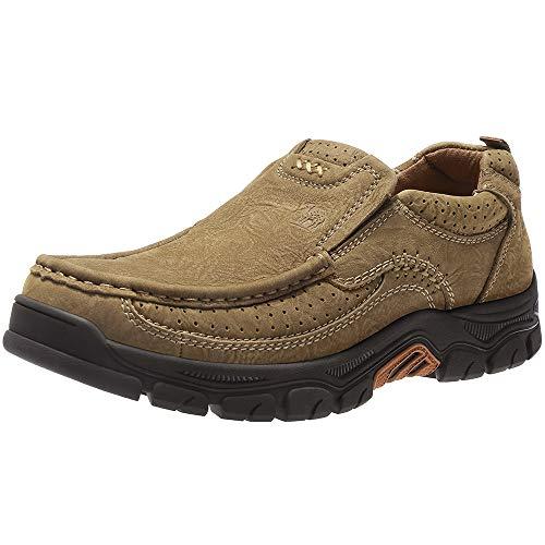 CAMEL CROWN Slipper Herren Mokassins Leder Weich Slip On Loafer mit Gummisohle Schuhe für Herren Schwarz Braun 41-47, Khaki 4020, 44 EU