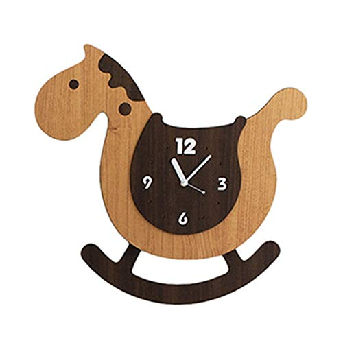 WANGXINQUAN Kings Cartoon Lovely Creativity Personality Art Natural Color Coffee Color Watch Silent Wall Clock Swingable Decoration Gifts Children's Room Bedroom Study Themed Restaurant 35 * 38