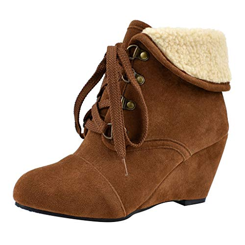 Find Discount Sumeimiya Womens Suede Booties Round Toe Lace-Up High Heel Wedges Ankle Bootie Casual ...