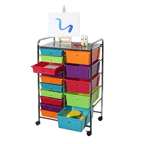 Seville Classics 15-Drawer Multipurpose Mobile Rolling Utility Storage Organizer Cart, Multicolor (Pearlized)