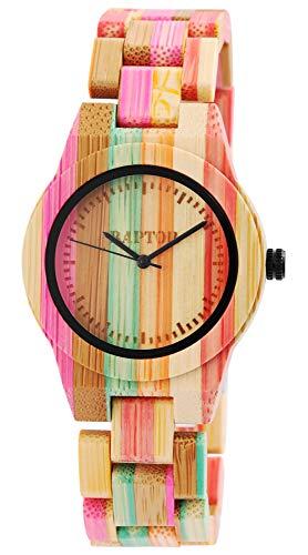 Raptor Rainbow Damen-Holz Uhr Bambus Mehrfarbig Analog Quarz RA10188