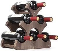 portabottiglie da 6 bottiglie in legno rustico, porta bottiglie di vino, per bar, casa, cucina