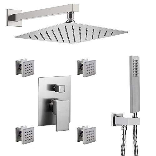 ENGA Bathroom Massage Body Spray Shower System 12-inch Rainfall Showerhead with Handheld Shower,Brushed Nickel