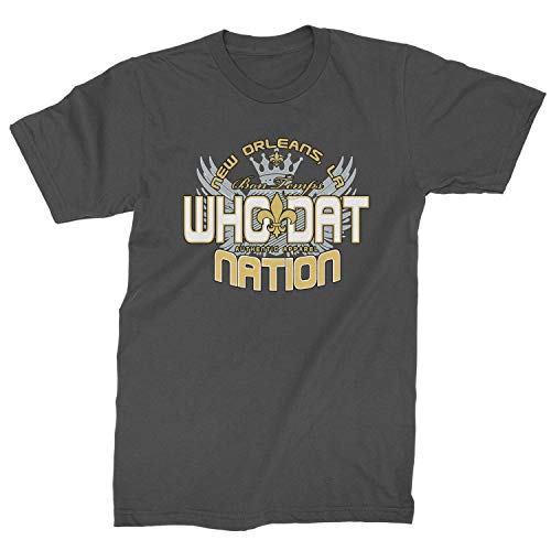 Expression Tees Mens (Color) Who Dat Nation New Orleans T-Shirt Medium Charcoal Grey