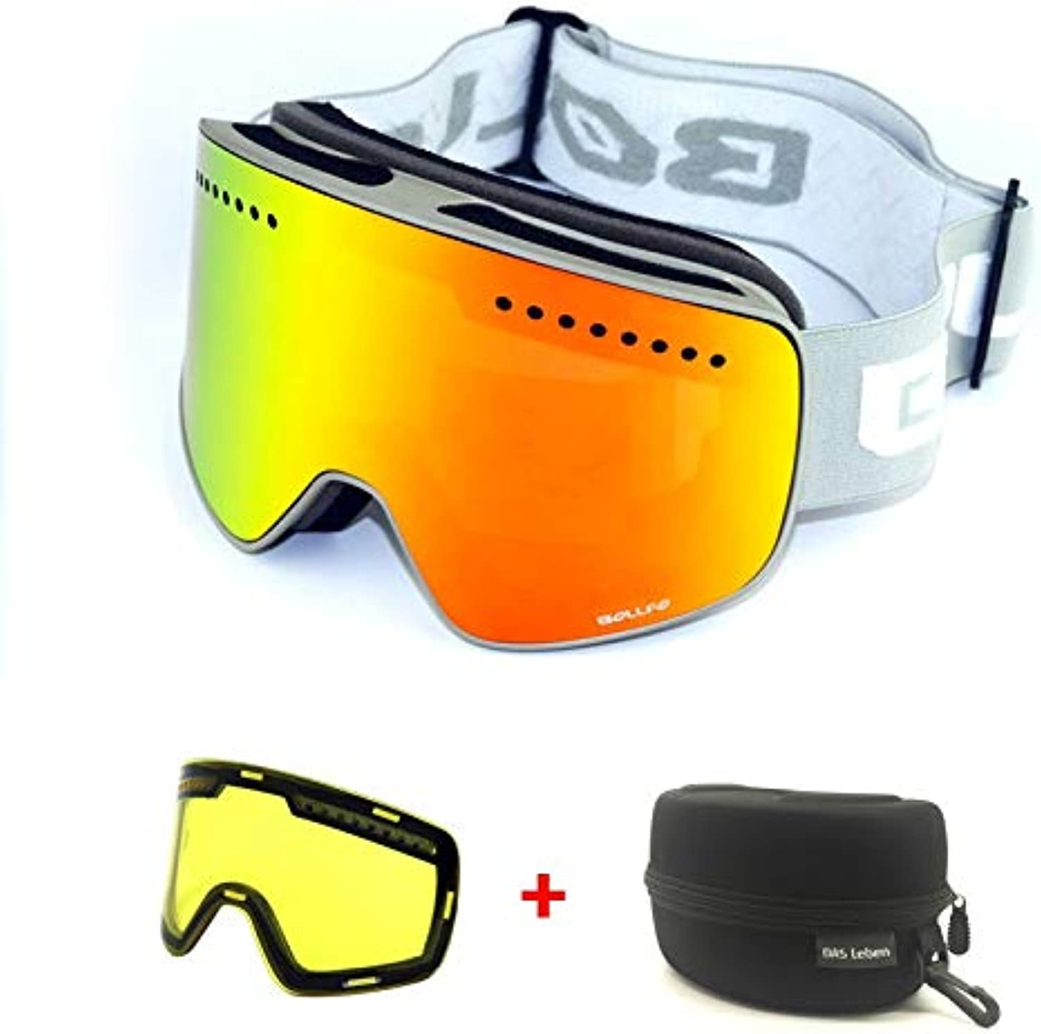 Polycarbonate INF Magnetic Double Layers Lens Ski Goggles Masks Anti-fog UV400 Snowboard Goggles Ski Glasses Eyewear for men women with case