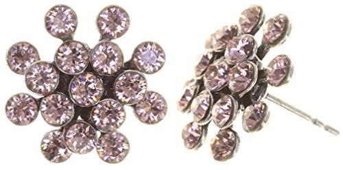 KONPLOTT Magic Fireball Mini Ohrstecker für Damen | Exklusive Designer-Ohrringe mit 32 Swarovski Steinen | Glamouröser Ohrschmuck passend zu jedem Anlass | Handgefertigter Damen-Schmuck | Rosa