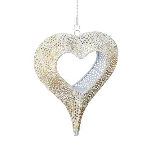 Cepewa Hänge-Windlicht Herz Laterne weiß/Gold 24cm Teelichthalter Kerzenleuchter Fensterhänger Deko, Hochzeit