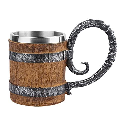 newhashiqi Barril de madera de imitación de barril de cerveza taza retro decorativa 450 ml práctico con mango A
