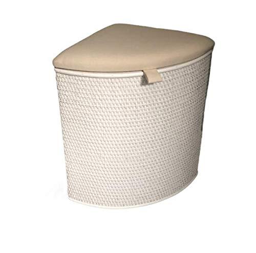 Cesto portabiancheria in rattan con seduta imbottita, colore bianco