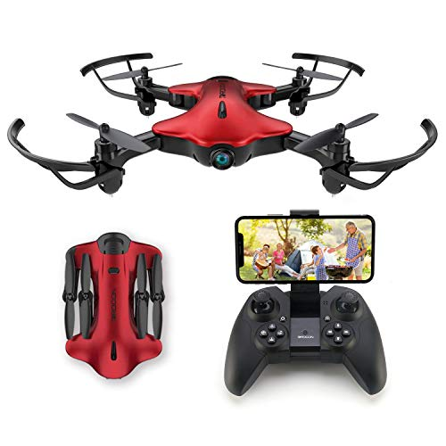 Drone for Kids, Spacekey FPV Wi-Fi Drone with Camera 1080P FHD, Real-time Video Feed, Great Drone for Beginners, Quadcopter Drone with Altitude Hold, One-Key Take-Off, Landing Foldable Arms (Red)