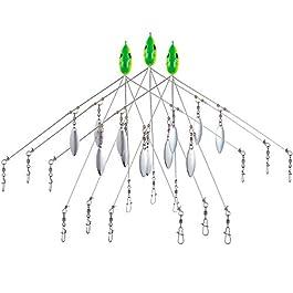 Bassdash Alabama Lot de 3 parapluies Moulantes avec 5 Bras et 4 Lames de Saule pour la pêche au Bar Bleu