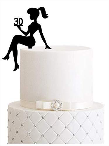 Girl, birthday, Tortenfigur, Cake Topper, Mädchengeburtstag, sweet 16, sweet 18, Zahl, TopperZahl, Geburtstag, Geburtstagsdeko, Dekoration (Schwarz, 30) Art.Nr. 5098