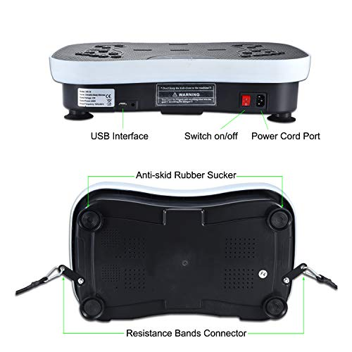 TODO Vibration Platform Whole Body Vibrating Massager Machine with Remote Control, Bluetooth Music, USB Connection, Resistance Bands, Color Latex Loops