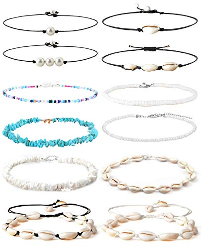 Besteel 12pcs Pearl Shell Beaded chokers Necklaces for Women Cowrie Seashell Choker Puka Conch Clam Chips Shell Bead Chokers Necklaces Set Handmade Beach Jewelry