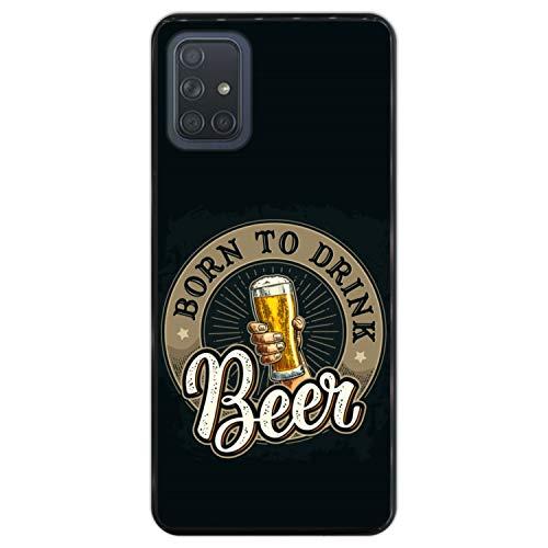 Telefoonhoesje voor [ Samsung Galaxy A71 ] tekening [ Proost, geboren om bier te drinken ] Zwart TPU flexibele siliconen schaal
