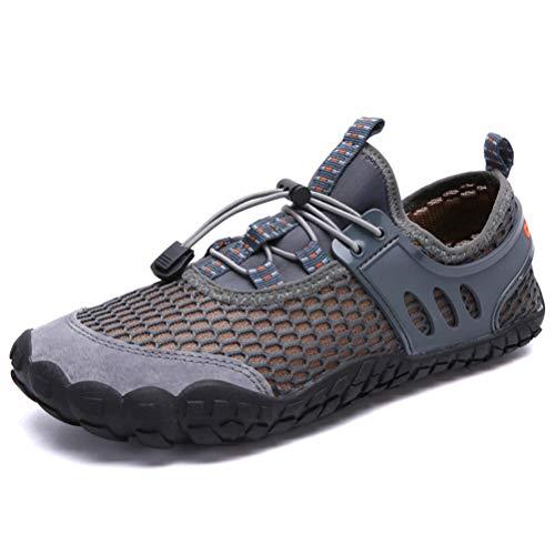 Dannto Herren Damen Wanderschuhe Trekkingschuhe Anti-Rutsch Super Atmung Wanderstiefel Sportlich Bequem Sommer LeichtOutdoor Fitnessschuhe Hiking Sneaker Barfußschuhe für Kinder(Grau-E,46
