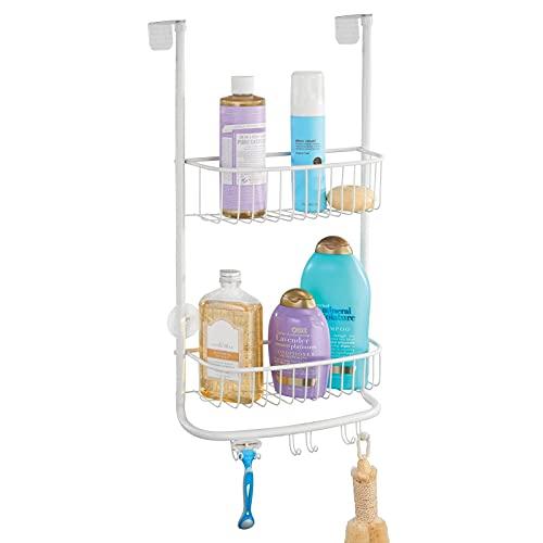 mDesign Estantería de ducha para colgar sobre la mampara – Práctico colgador para ducha con ventosas – Cestas metálicas para los accesorios de ducha – blanco mate