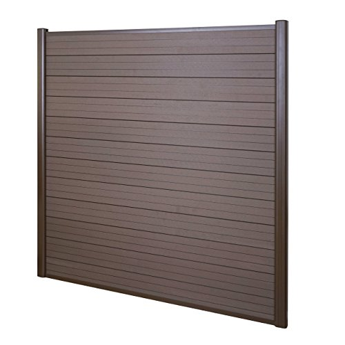 Mendler WPC-Sichtschutz Sarthe, Windschutz Zaun, Alu-Pfosten ~ Basiselement, 1,90m braun