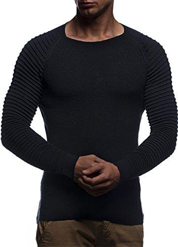 LEIF NELSON Herren Strickpullover Basic Rundhals Crew Neck Sweatshirt Langarm Sweater Feinstrick LN20729, Größe S, Schwarz