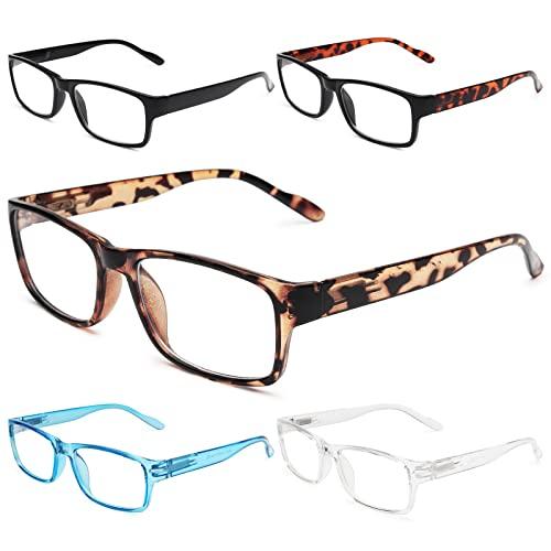 Gaoye 5-Pack Reading Glasses Blue Light Blocking,Spring Hinge Readers for Women Men Anti Glare Filter Lightweight Eyeglasses (#5-Pack Mix Color, 2.0)