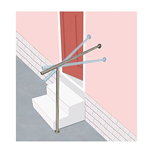 Stair Railing Staircases Handrails for Indoor Outdoor Banister Steps Adjustable Stairs Metal Stainless Steel Exterior Steps Outside Hand Railings Kit, 80 x 90 cm (Silver)