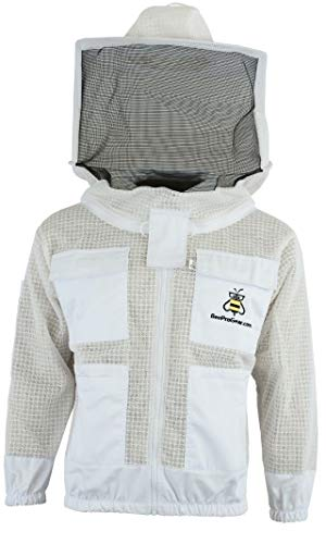 Bee Jacket - Giacca per apicoltura a 3 strati, unisex, in tessuto bianco, per apicoltura