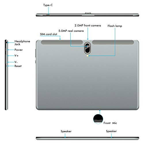 Padgene N10 Tablet 10.1 Zoll (25.54cm), Android 10.0 Ultra Dünn Tablett PC, Octa-Core, 128GB erweiterbar auf bis zu 256GB, 4GB RAM, 4G LTE Phablet, Dual SIM, WiFi, Bluetooth(Grau)