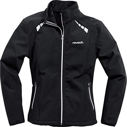 Reusch Softshell Jacke, Softshelljacke, Funktions-Jacke Damen Softshelljacke 1.0, Zwei seitliche Einschubtaschen, reflektierende Drucke auf Front und Rücken, optimierte Damen-Passform, Schwarz, M