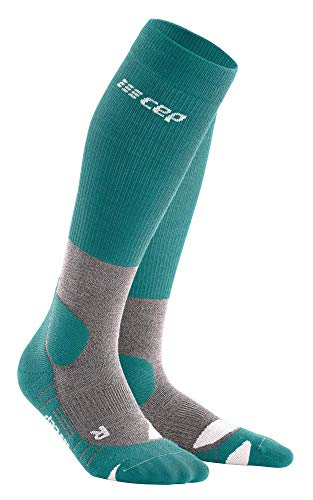CEP – HIKING MERINO SOCKS REDESIGN für Damen | Knielange Wandersocken mit Kompression in Forestgreen / Grey | Größe II