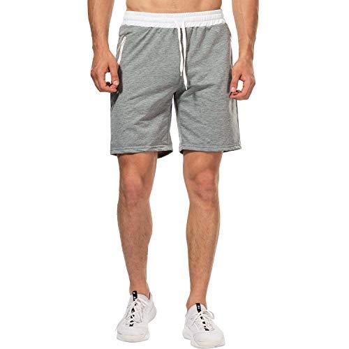 CHYU Herren Sport Joggen und Training Shorts Fitness Kurze Hose Jogging Hose Bermuda Reißverschlusstasch (M, Hellgrau)
