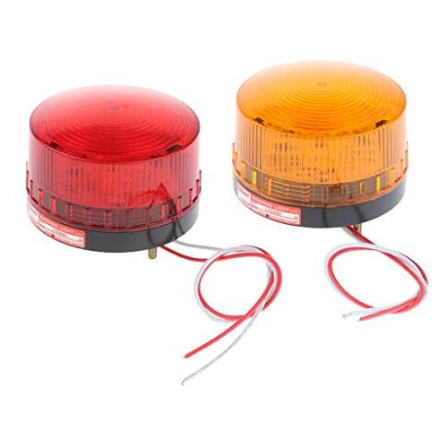 Sharplace 2pcs 24V LED Lumière Ronde Flash Lampe - Rouge/Orange